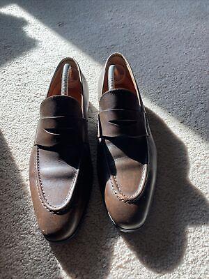 """$795 Santoni Men's Leather Penny Loafers Slip On Black US 10 D """"Caoutchouc"""""""