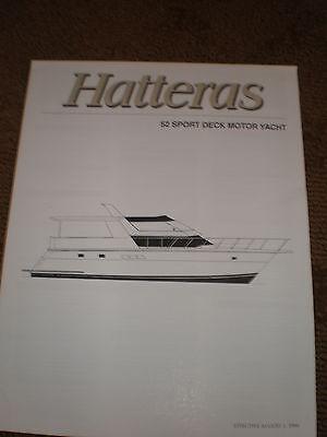 1996 HATTERAS 52 SPORT DECK MOTOR YACHT MARKETING / SPECIFICATIONS BROCHURE