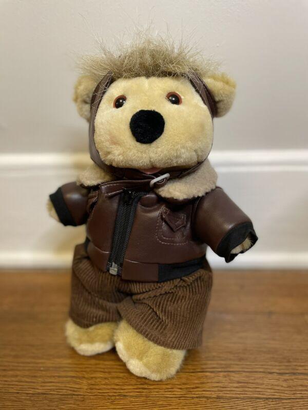 "1991-All Stuffed Up Designer stuffed bear-Linda Novick Pilot Flyer 12.5"""