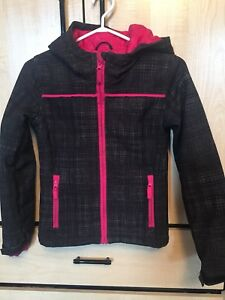 Girl's Black & Grey Fall Jacket With Pink Trim