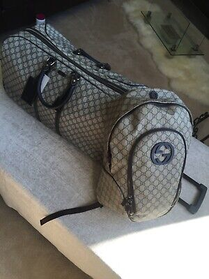 Rare GUCCI Brown/Blk GG Supreme Monogram Canvas Carry On Rolling Duffle $2899