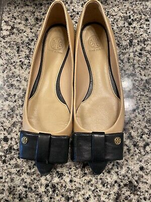 Tory Burch Two Tone Tan Black Pointed Bow (Pointed Tone)