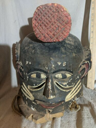 Helmet Mask with Two Faces — Nice Carved Details — Authentic African Wood Art