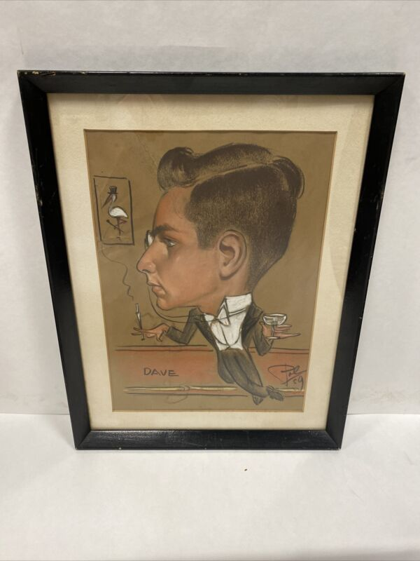 Vintage Signed Pal Freid Pastel Caricature Drawing Dated 1959 Free Shipping