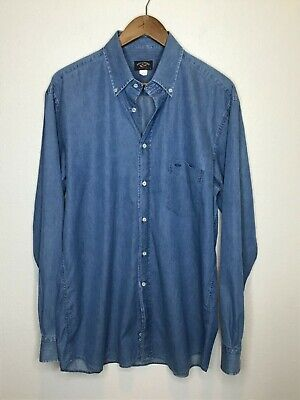 Mens Paul & Shark Chambray Buttoned Denim Shirt Sz 41 LG Blue