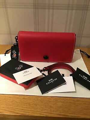 COACH Dinky Bag in Red with Mickey Mouse Tag BNWT