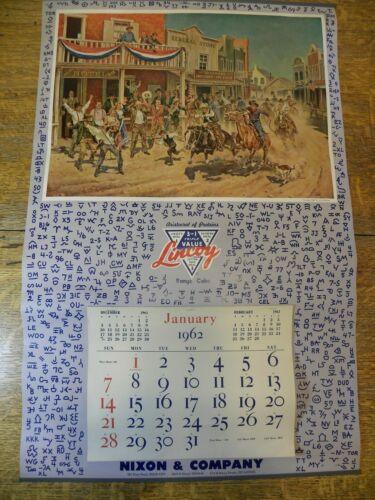 "Vintage ""Western"" Advertising Calendar Illustrator Vic Donahue 1962 Omaha"