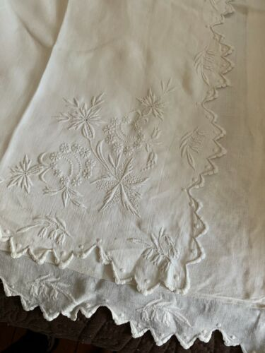 "Pair Antique Victorian White Linen Pillow Sham3 31"" by 30"" Whitework Embroidery"