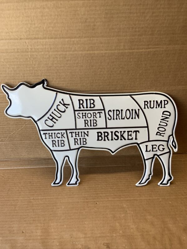 Metal COW Sign White Black Cuts of Meat Butcher Chart Beef Diagram Farmhouse
