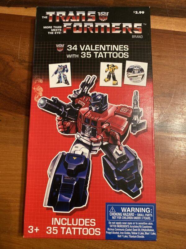 G1 Transformers 34 Valentines Cards + 35 Tattoos ~ New Old Stock Sealed Box b22