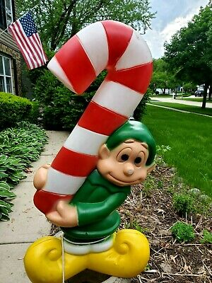 Vintage Elf Candy Cane Plastic Blow Mold Lighted Outdoor Christmas Decor 32""