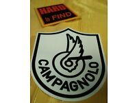 ONE NEW CAMPAGNOLO STICKER.WINGED-HUB-IN-A-SHIELD.BLACK ON CLEAR.8x10cm.DECAL.
