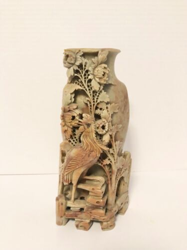 Beautiful Large Chinese Carved Soapstone Vase