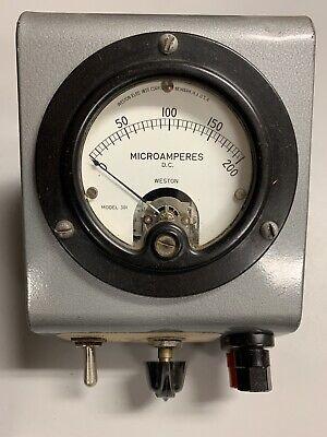 Weston 0-200 Dc Microamperes Panel Meter In Case Vintage