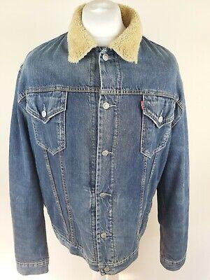 Mens Levis Fur Fleece Lined Denim Jacket Blue Xl 50 Chest