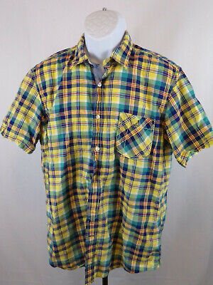 Nautica Mens Large Multicolor Check Short Sleeve Button Down Casual Shirt B90
