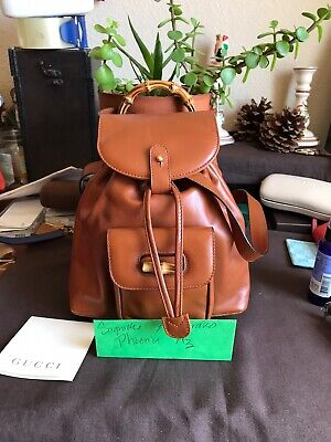 Gucci Vintage Bamboo Backpack Mini Leather. NEW