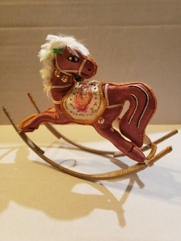 Vintage Rocking Horse Christmas Ornament Satin Sequins Bell Embroidery Faux Fur