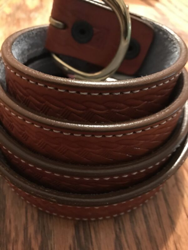 Western Style Hidden Money Belt 52 Waist  Brown Leather Etched Travel Leather
