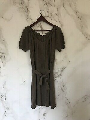 Loft Womens Sweater Dress Size M Browm Merino Wool Blend Short Sleeve Belted