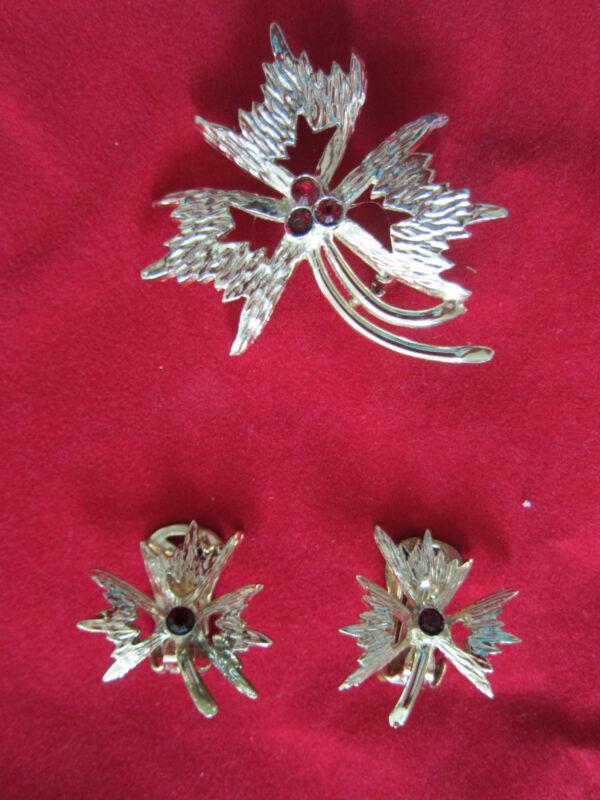 Retro Vintage Leaf Design/Red Stones  Demi Parure Brooch/Pin & Clip On Earrings