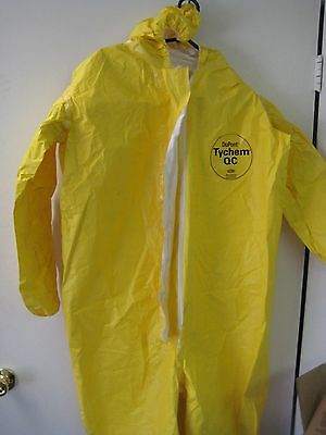 Box Of 4 Dupont Tychem Qc Qc127 Chemical Hazmat Coverall Suits X-large Yellow Xl