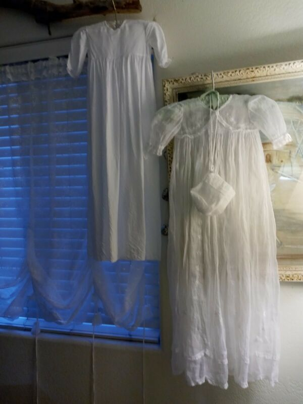 "Vintage White Baby Christening Dress Gown/Slip/hat 37"" Lace Smocking Pristeen"