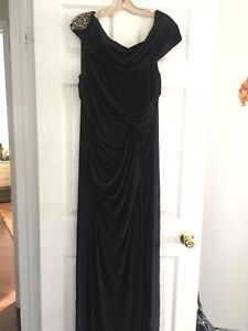Black dress long gown fashion prom evening slit wedding new