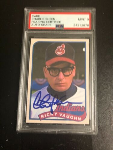 Autographed Charlie Sheen card PSA certified signed Mint 9 signature Grade