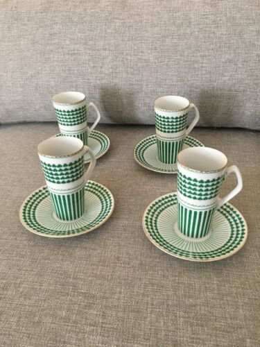Green Shamrock/Gold Espresso Cup & Saucers (set of 4) Made For Neiman Marcus