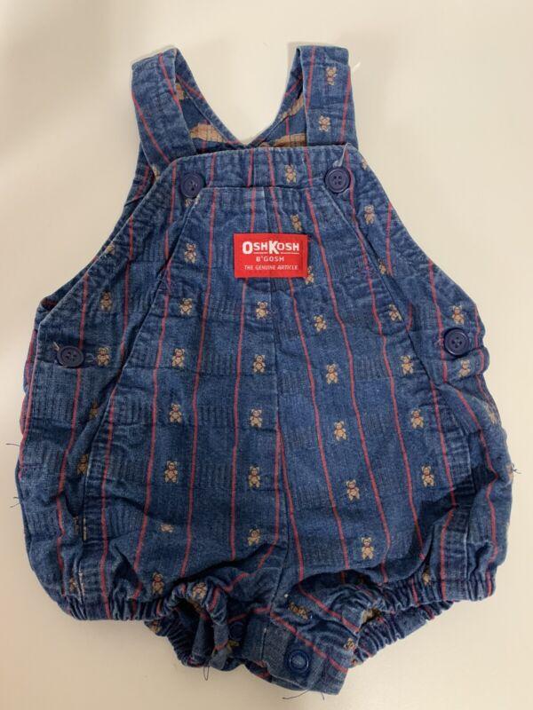 Vtg Oshkosh Bubble Romper Baby Vestbak Denim Overalls Teddy Bear 6 9 Months USA