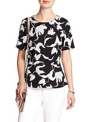 Banana Republic Black Gray Peplum Blouse Shirt Sz M Medium New Nwt