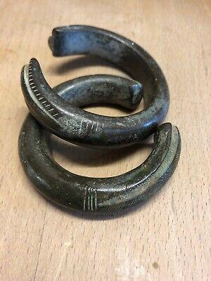 Scandinavian Aztec Ancient Medival Antiquities Bronze Wrist Bangles
