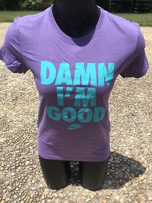 NEW Women's Nike Sportswear DAMN I'M GOOD Purple Sky Blue Training T - Shirt
