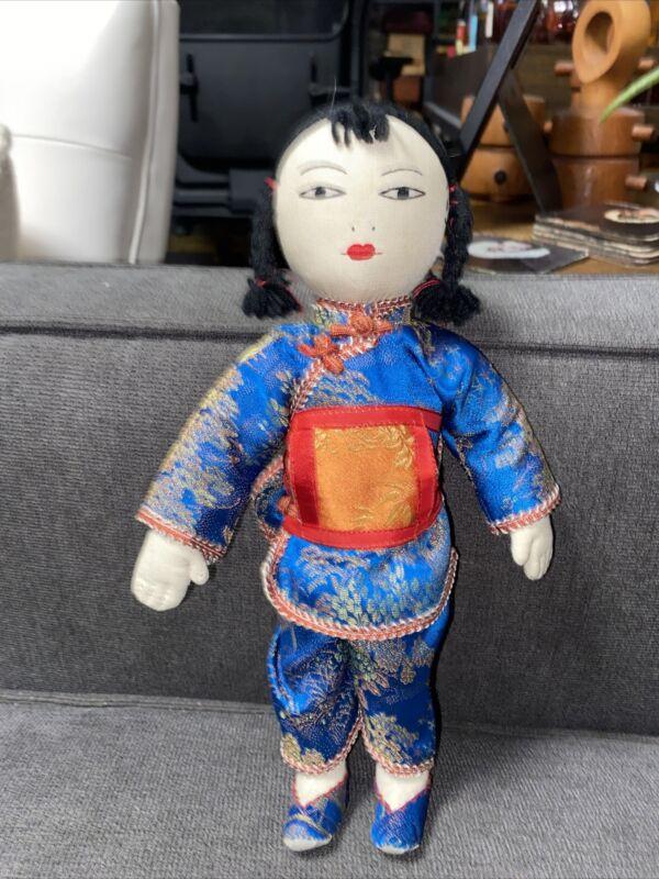 "Ada Lum Doll, Vintage Ada Lum , Vintage Chinese Doll, Chinese 11"" Tall Rag Doll"
