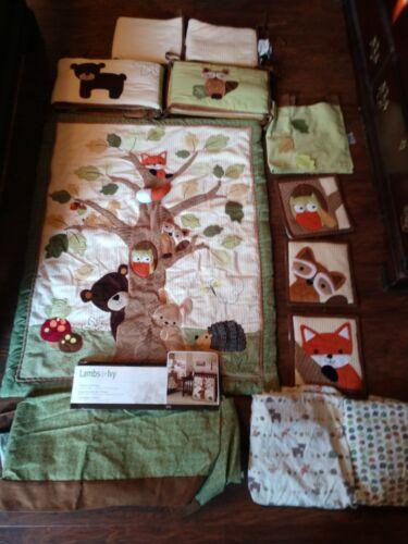 Retired Lambs & Ivy Echo 7 Piece Crib Set plus Crib Bumper Forest Fox Bear Owl