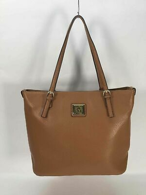 Anne Klein Tan Pebbled Faux Leather Tote Handbag