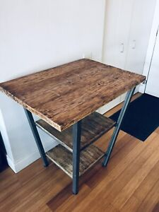 RECLAIMED WOOD & ROLLED STEEL KITCHEN ISLAND TABLE BAR HEIGHT