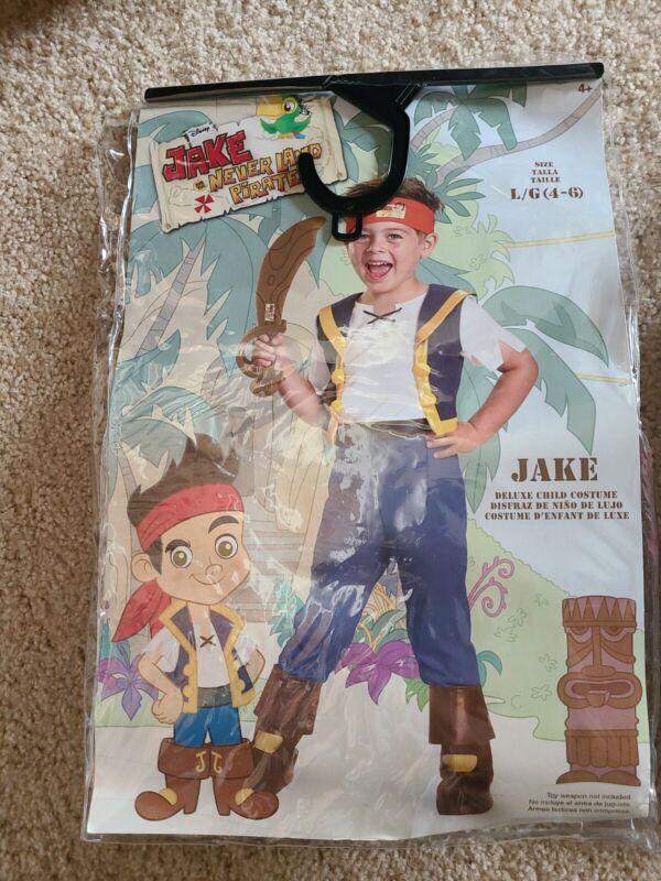 Jake and The Neverland Pirates Jake Costume, Size Lg 4-6 Yrs