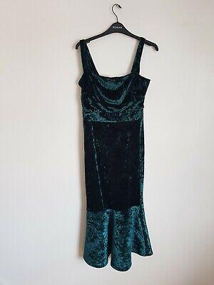 True Violet velvet square neck midi boydon dress with pephem Size 12...