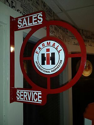 INTERNATIONAL HARVESTER TRACTOR NOSTALGIC WALL FLANGE ADVERTISING SIGN 2 SIDED