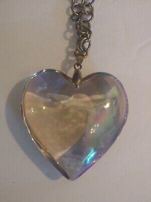 Vintage Gothic Steam Punk Statement Necklace Glass Heart Pendant Silver Tone