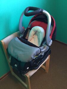 Infant car seat, with base and infant sling and cover