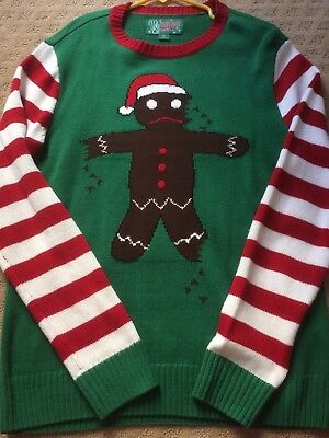 - Ugly Christmas Sweater Gingerbread Man Candy Cane Stripes Small