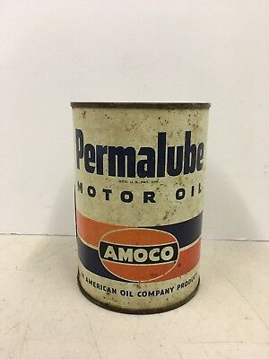 Vintage Permalube Amoco Motor Oil One Quart Can American Company Garage