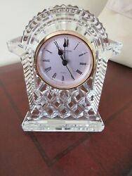 WATERFORD Crystal Faceted LISMORE Mantle Desk Carriage Clock