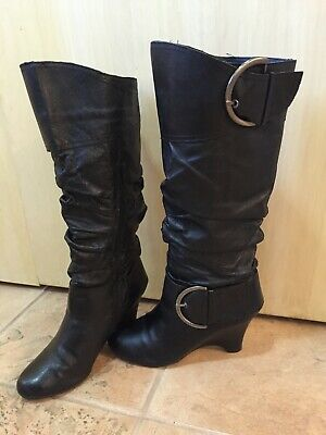 "Naughty Monkey Knee-High Black Boots, US 7, 3"" heel for sale  Arlington Heights"