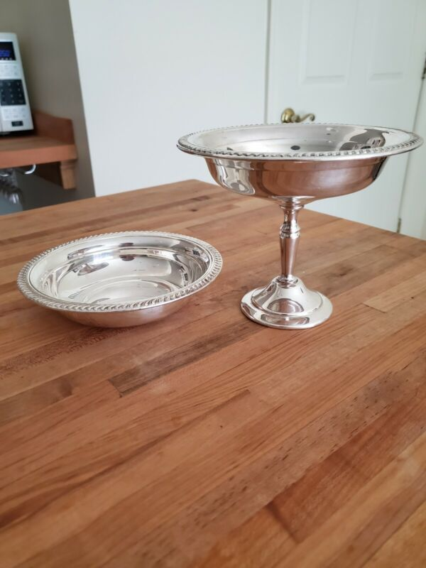 FB Rogers Silver Co. Silverplate Pedestal  Compote and Dish Bowl 2pc Set
