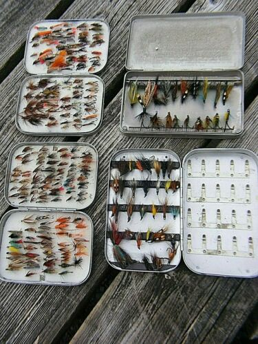VINTAGE WHEATLEY  FLY BOXES  AND FLIES RARE