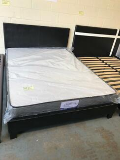 Brand new pu leather bed frame with medium mattress D$300,Q$330